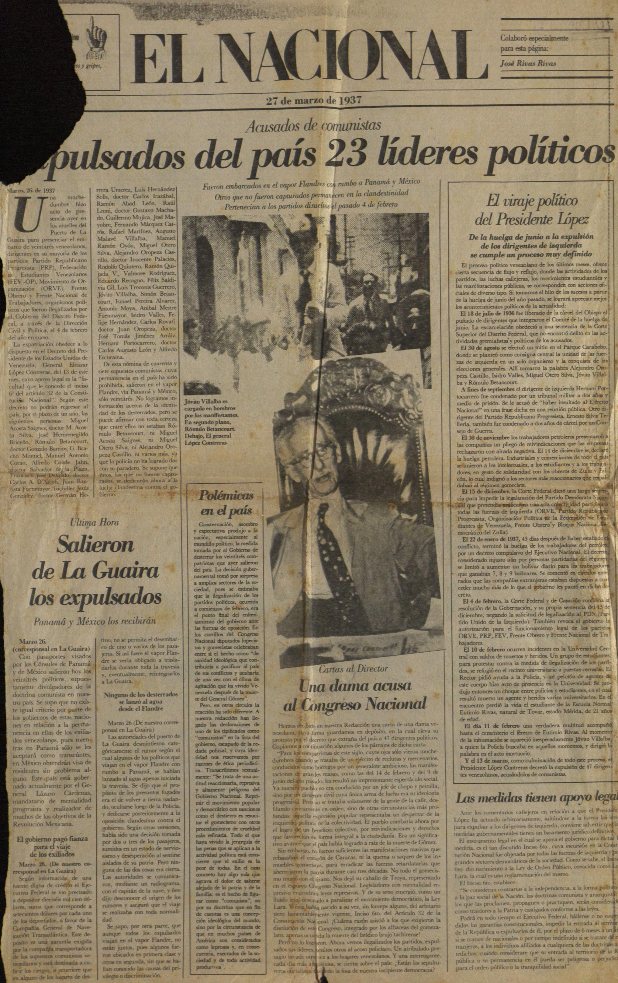 Archivo El Nacional 27 De Marzo De 1937 Jpg La Venciclopedia